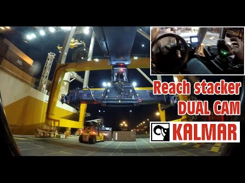 """NEW Kalmar K-MOTION Reach Stacker at work, OPERATORS VIEW DUAL CAM discharging twin 20"""" container"""
