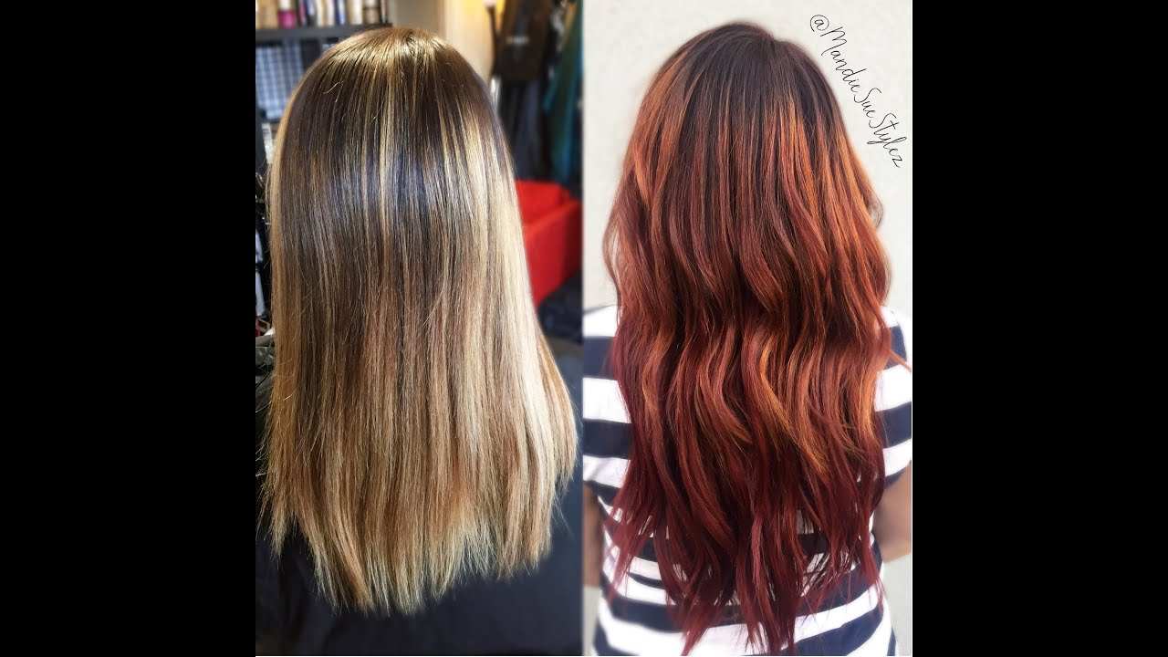 Ecaille Red Mahogany Color Hair Transformation