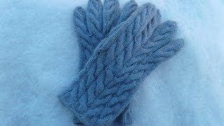 Мужские вязаные перчатки на спицах. М К.