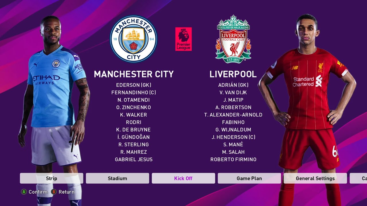 Manchester City vs Liverpool : PES 2020 (2/07/2020) - YouTube
