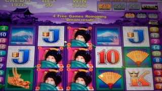 Geisha Deluxe Slot Machine Bonus - 10 Free Games with Stacked Touch Reveal Wilds, Nice Win
