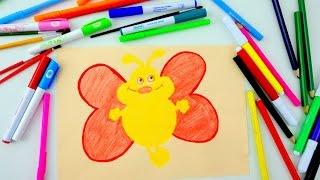 Учимся рисовать карандашом Веселую Бабочку