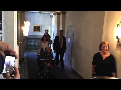 Stephen Hawking arrives at KTH Royal Institute of Technology