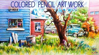 Learn a Landscape Drawing and Shading with Color Pencils | Little Speed Drawing