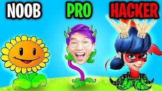 Can We Go NOOB vs PRO vs HACKER In PLANTS VS ZOMBIES!? (MAX LEVEL!)