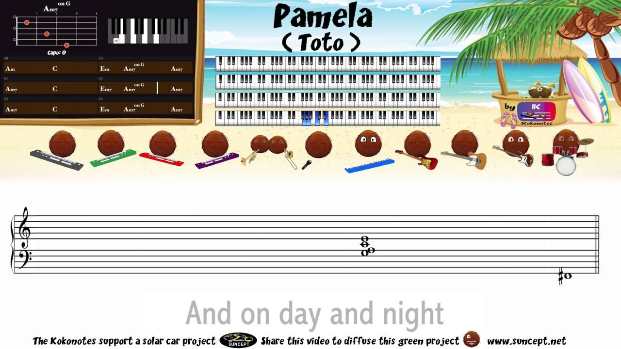 How to play : Pamela (Toto) - Tutorial / Karaoke / Chords / Score ...