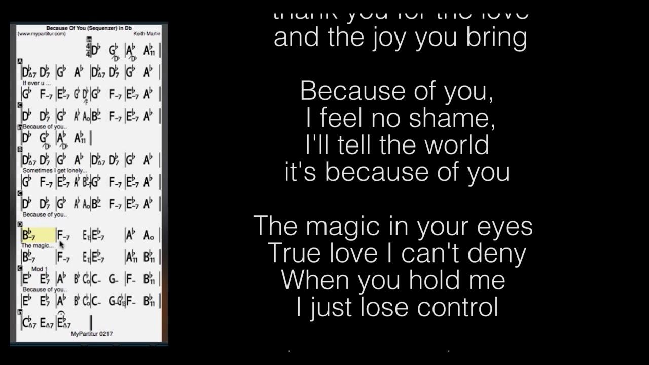 Because Of You Chords at MyPartitur Lyrics