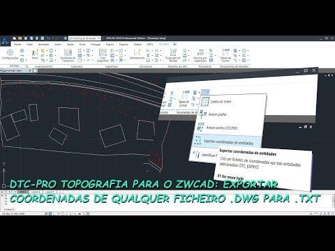 Tutorial DTC-PRO Topografia para ZWCAD: Exportar Coordenadas de Entidades de um Ficheiro .DWG thumbnail