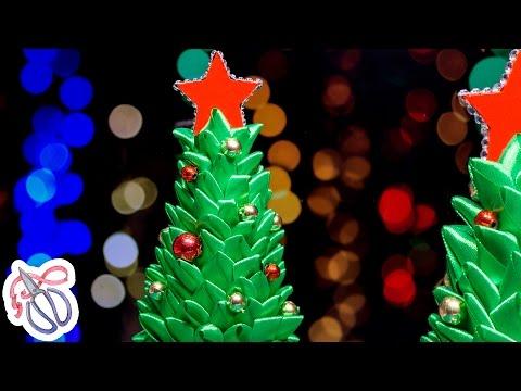 Сувенир Подарок на Новый год своими руками / Елочка Канзаши из ленты  ✄ Kulikova Anastasia