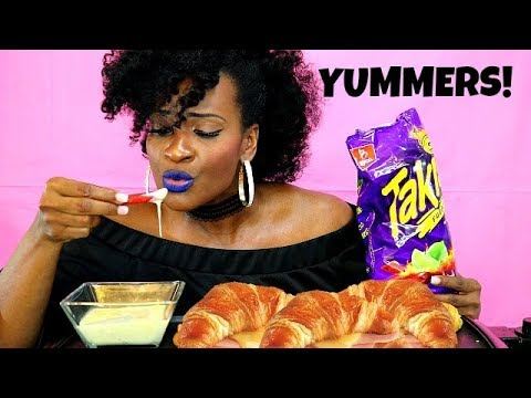 TAKIS, CHEESE, AND SMOKED TURKEY CROISSANTS MUKBANG!