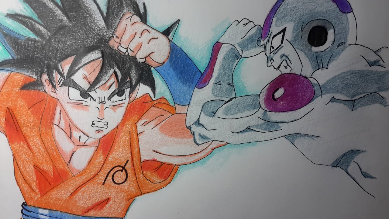 Como dibujar a Goku la resurreccin de Freezer paso a paso El