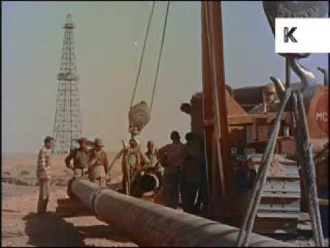 Arab Oil Workers, 1950s/ 1960s, Colour 35mm Archive Footage