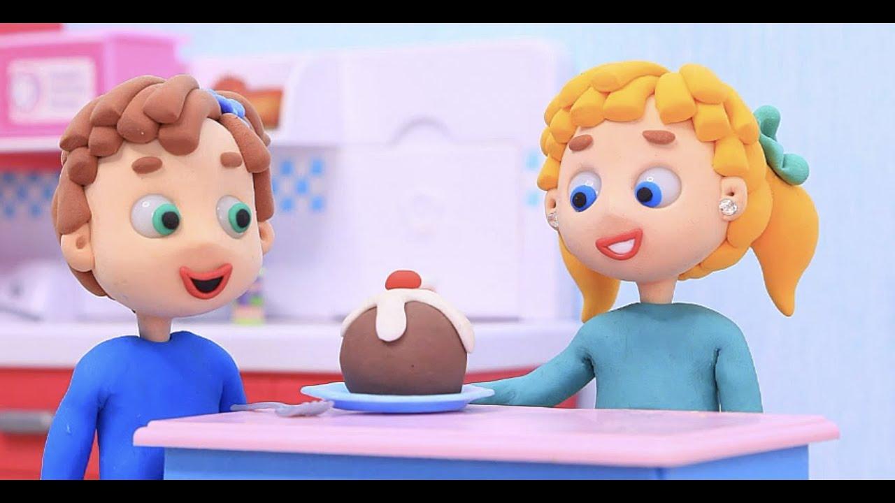 Kids cooking yummy chocolate cake