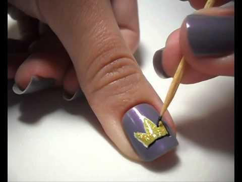 Nail Art Tutorial - Cute Crown - Nail Art Tutorial - Cute Crown - YouTube