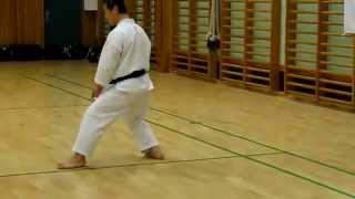 Sensei Masao Kagawa demonstrates the shifting between nekoashi dachi and kokutsu-dachi