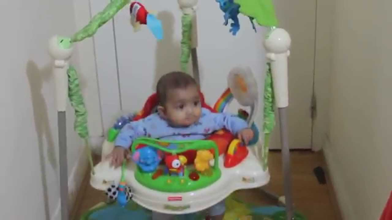 41a33afb0379 5 month old baby playing with Fisher Price Rainforest Jumperoo - YouTube