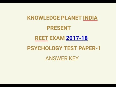 REET EXAM 2017-18, REET PSYCHOLOGY TEST ANSWER KEY , REET PSYCHOLOGY  IMPORTANT QUESTIONS AND ANSWERS