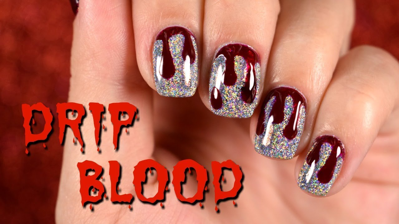Holo Halloween Nail l Blood Drip Nail Art - YouTube