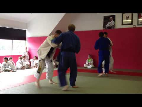 BJJ Purple Belt Having Fun With Judo Black Belt