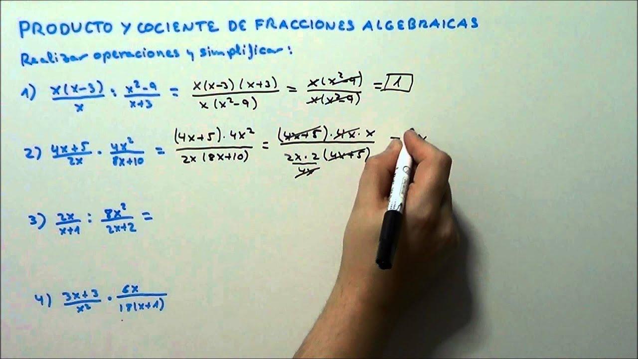 PRODUCTO Y COCIENTE DE FRACCIONES ALGEBRAICAS. HD - YouTube