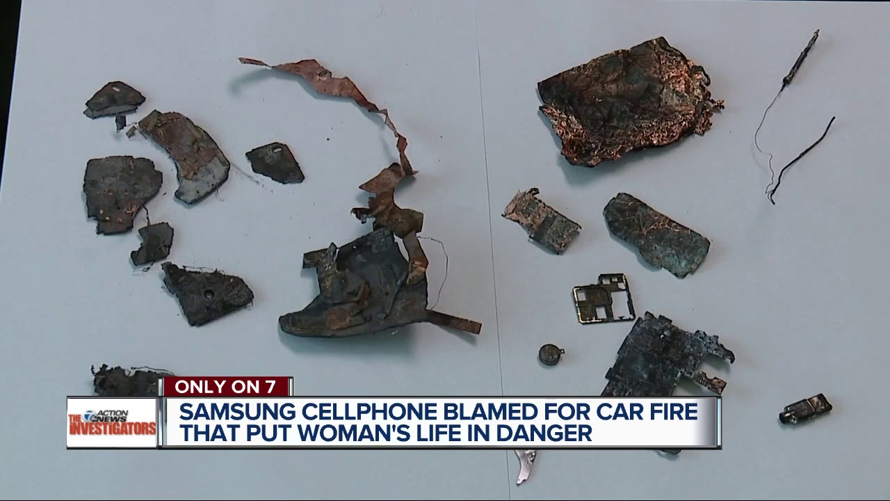 Woman says Samsung cellphone caught fire, destroyed her car