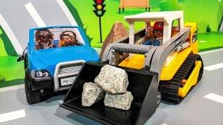 Мультики про машинки. Рабочие машины Бульдозер в мультике - обвал в горах. Мультфильмы для детей