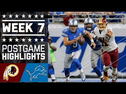 Redskins vs. Lions | NFL Week 7 Game Highlights