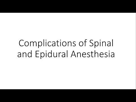 Complications of Spinal and Epidural Anesthesia – General Surgery #Generalsurgery