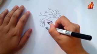 Belajar Menggambar karakter ELSA FROZEN dalam 4 menit