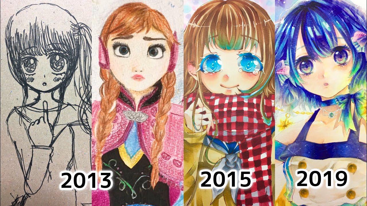 【総集編】13年間のイラスト成長記録/My anime drawing Age4~15【アナログ・コピック/Copic】