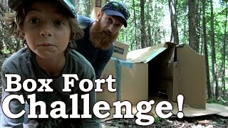 Bushcraft Box Fort Challenge in the FOREST! | SHIRTLESS Mosquito, FIRE Challenge & Fortnite DanceOff