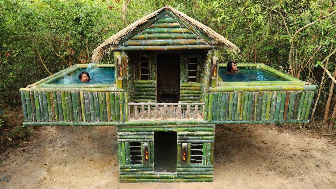 Build Technologically Modern Forest House & Twin Bamboo Swimming Pool And Make Red Wine Grape