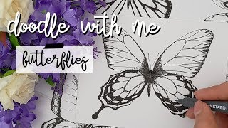 How to draw Butterflies + Spring Drawing Challenge || Spring Doodles || Doodle with me