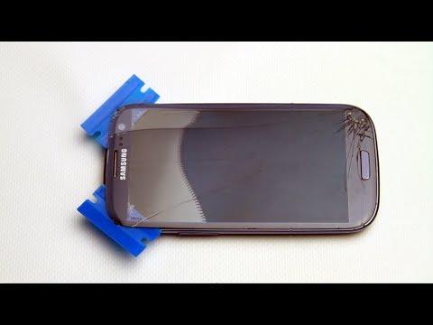 Samsung Galaxy S3 broken glass screen replacement tutorial @ home method [HD][HQ] repair GTi9300 DIY