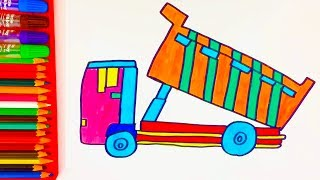 How to Draw Dump Trucks for Kids  Coloring Pages Art Color with Colored Markers by Color DT Kids