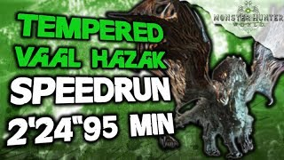 "Monster Hunter World - Tempered Vaal Hazak Speedrun 2'24""95 - Vaal Hazak Kill 4 Player - MHW"
