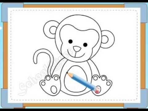 BÉ HỌA SĨ - Thực hành tập vẽ 198: Vẽ con khỉ