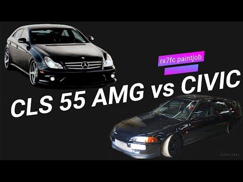 CLS 55 AMG με το CIVIC του Τράκα - & το βάψιμο του RX7 FC
