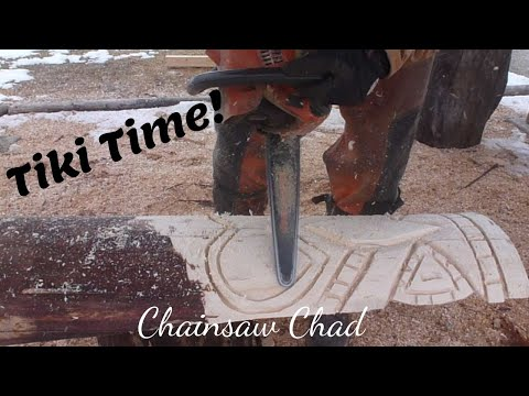 Chainsaw-Carving-A-Tiki-Totem-Pole-Sculpture-Wood Carving!