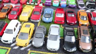 A box with 50+ toy cars showed one by one in detail, mattel disney pixar cars, and more for kids!