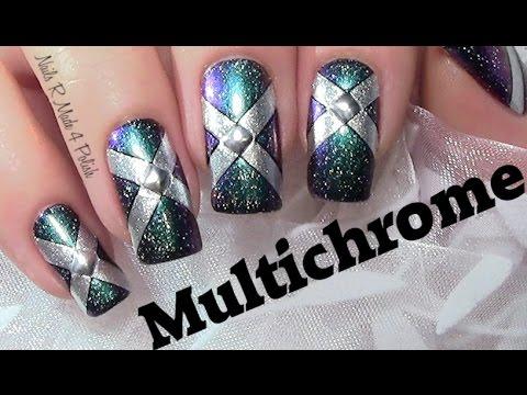 einfaches multichrome nageldesign / easy fall nail art