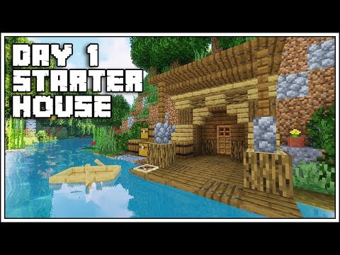Minecraft FIRST DAY Starter House Tutorial [How To Build