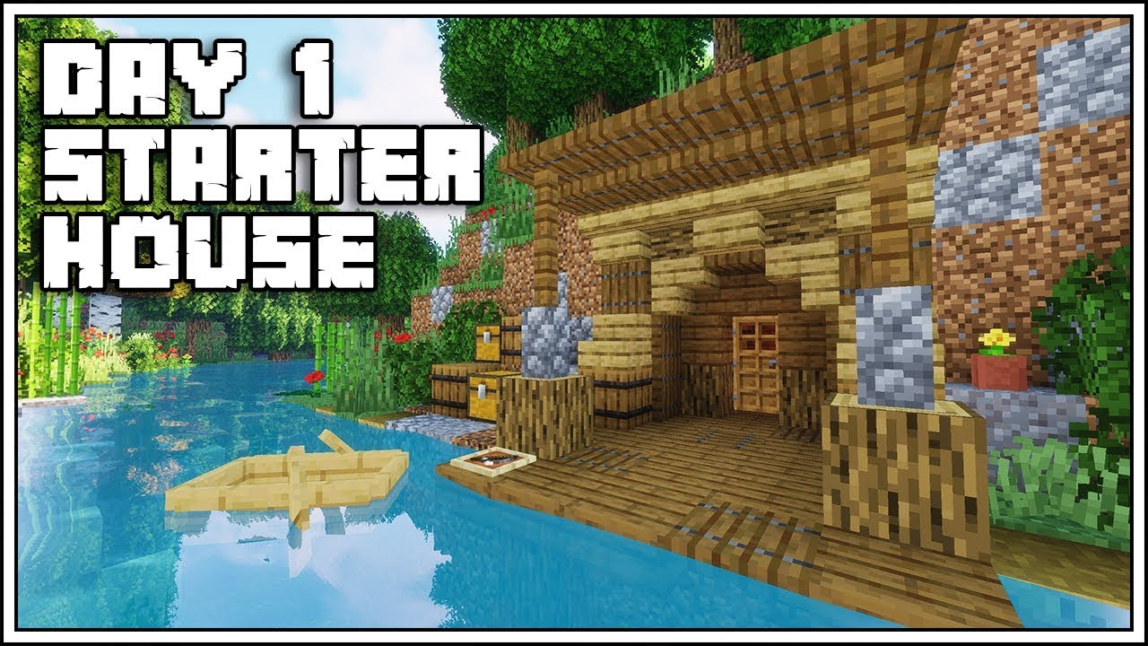 Minecraft FIRST DAY Starter House Tutorial [How To Build]