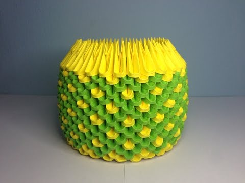 DIY: 3D Origami Brush/Pen Holder (D.Green & Yellow)
