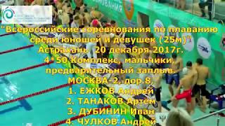 """""""Всероссийские соревнования по плаванию среди юношей и девушек (25м)"""" 4 x 50m Комплекс, Предв."""