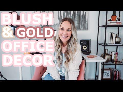 MODERN BOHO OFFICE TOUR | BLUSH & GOLD OFFICE DECOR | Amanda Little