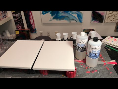 Bracing the back of a canvas with cardboard. STONECOAT ARTIST RESIN geode color test (DIPTYCH)