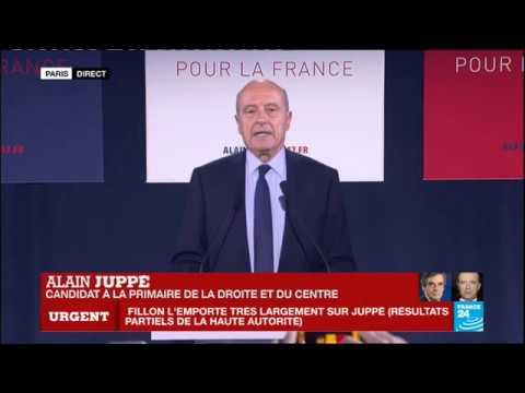 Primaire de la Droite : Discours d'Alain Juppé qui reconnait sa défaite face à François Fillon