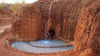 Dig the Cliff to build Twin Swimming Pool and Natural Waterfall on the Mountain thumbnail