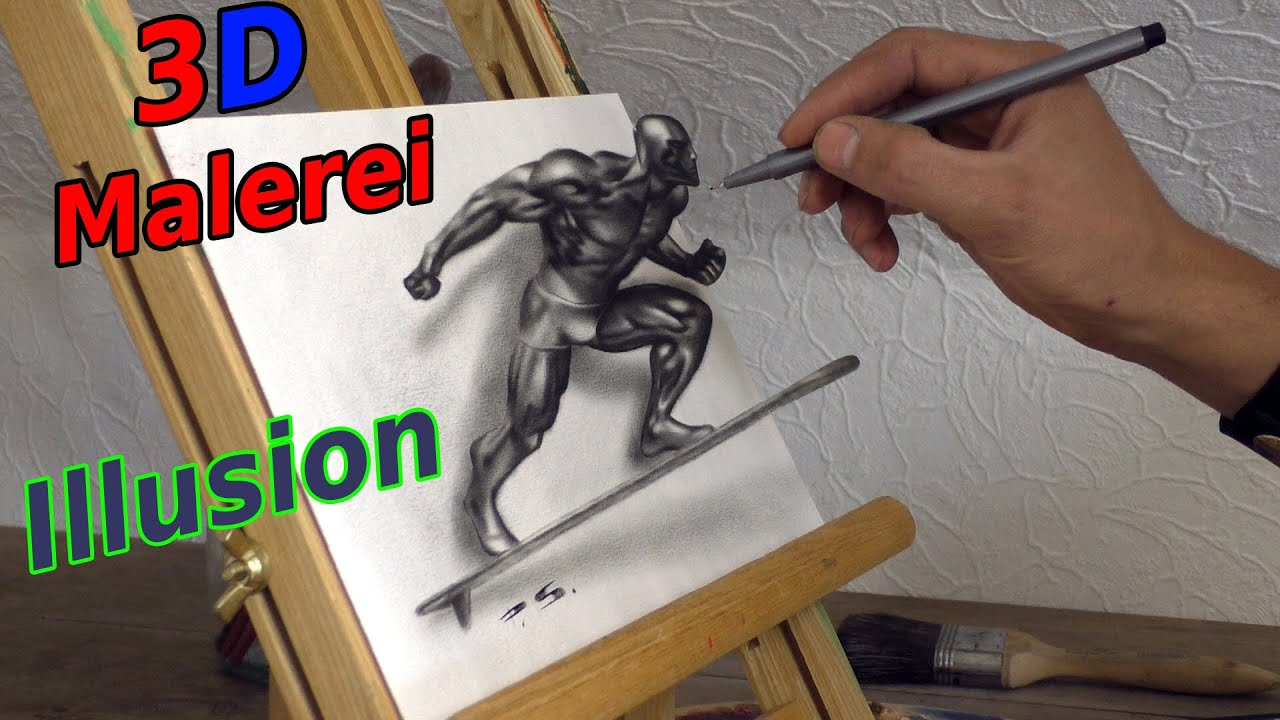 Silver Surfer Zeichnung In 3D | Marvel Superhero | Illusions Malerei